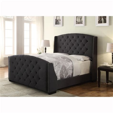 Wingback Button Tufted Dark Grey Queen Size Upholstered
