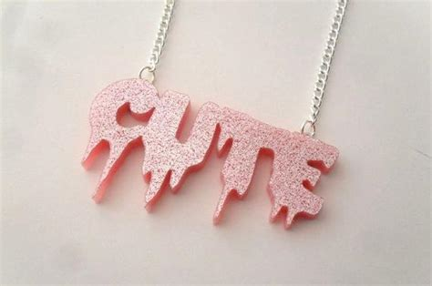 laser cut glitter pink cute dripping word necklace