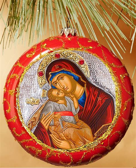 Virgin Mary Sweet Kissing, Round Christmas Ornament, Red
