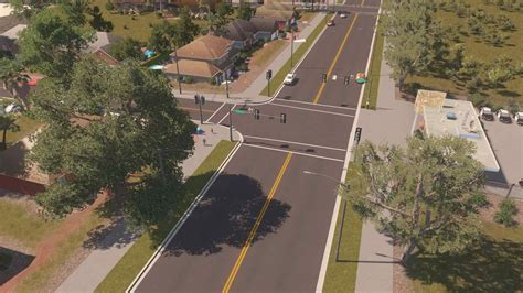 [US Road Project] Wide 4-Lane Suburban Road without