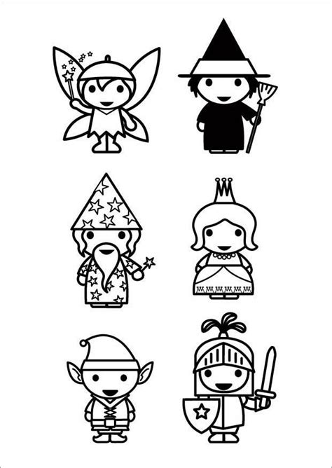 Coloring Page fairy tale characters - free printable
