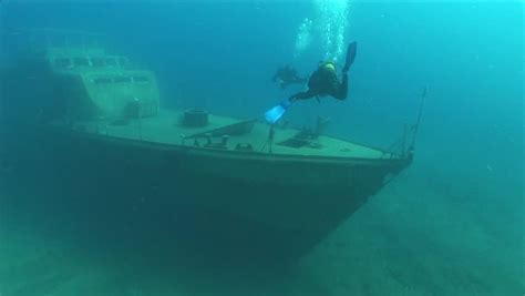 Ship Wreck Underwater Shipwreck Moves Stock Footage Video