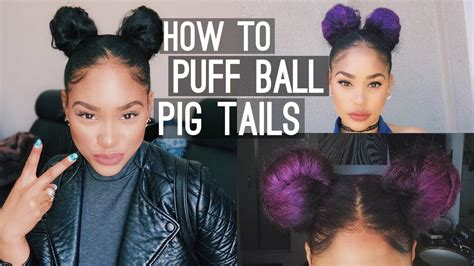 How to : Puff Ball Pig Tails (Space Buns) - YouTube
