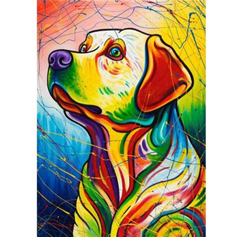 Oil Painting Dog Color 5D Diamond Painting