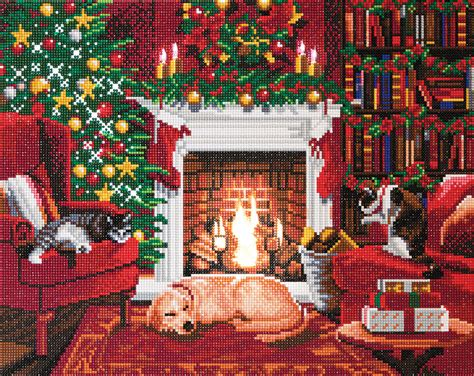 Crystal Art Large LED Framed Kit Pets by the Fireplace