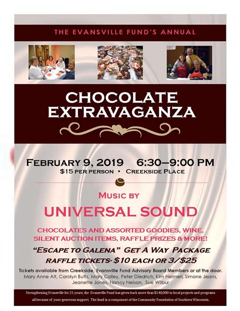 Chocolate Extravaganza – fundraiser for The Evansville
