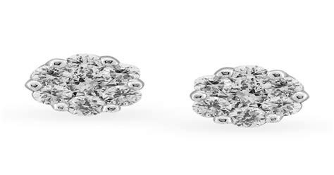 Floral Diamond and White Gold Stud Earrings | Tanishq