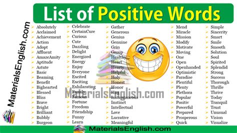 positive words list – Materials For Learning English
