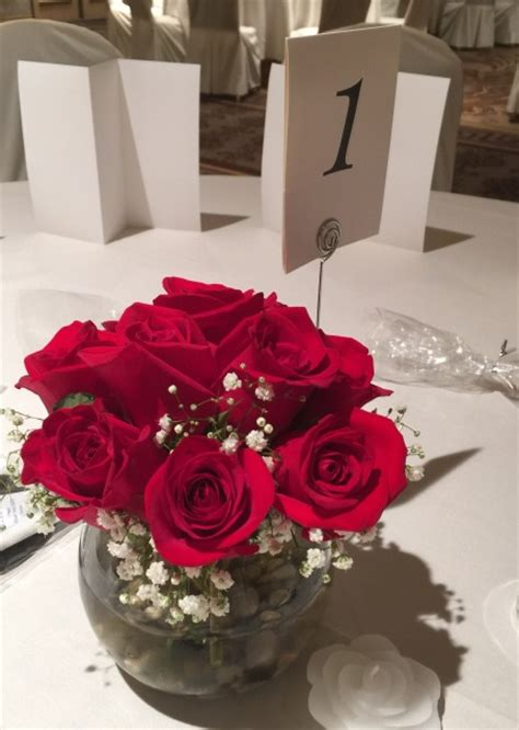 """""""All Red Roses"""" Centerpieces (SET OF 6) about $49"""