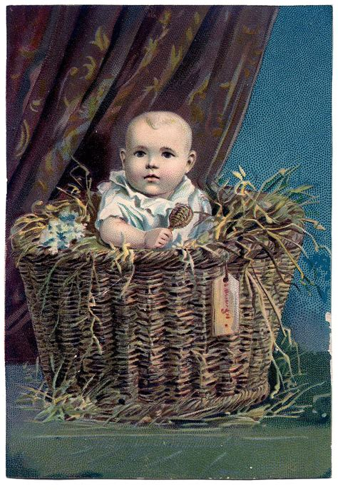 Vintage Clip Art - Sweetest Baby in Basket - The Graphics